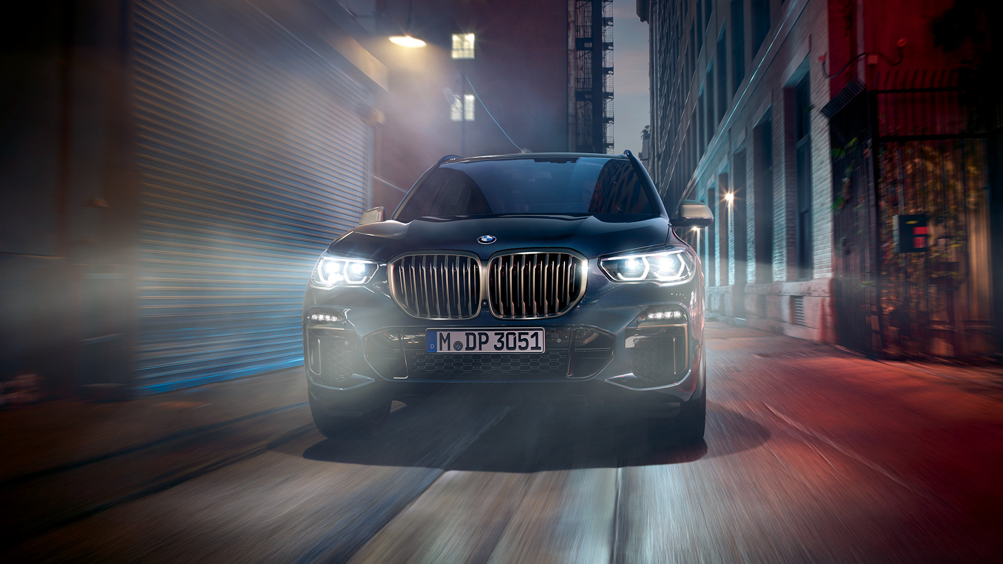 BMW kidney grille in Cerium Grey BMW X5 M50i and M50d G05 Carbon black metallic front view